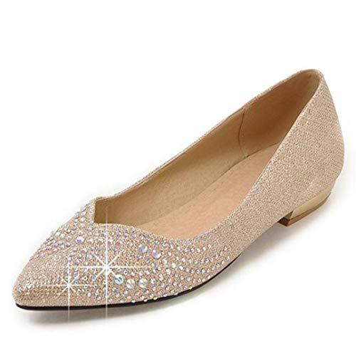 Frauen Beleg auf Schuhen zeigte Zehe-Kristallbequeme niedrige Fersen-Ebenen-weibliches Kleid-Büro-Schuhe (Krawatte-scrunch)