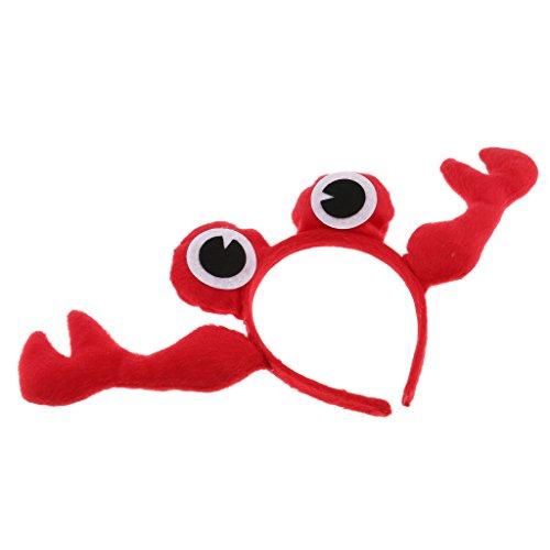 Baoblaze Tier Krabbe Stirnband Plüsch Krabbe Haar Band Festival Kostüm Cosplay - rot, 11 cm