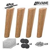 La Vane - Patas de madera para muebles, juego de 4 patas de repuesto para muebles de madera maciza con placa de montaje y tornillos para sofá, TV, armario, cama, mesa de comedor