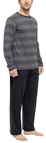 Tom Franks Herren-Pyjama, gestreift, Baumwolle, Shirt und lange Hose Schwarz