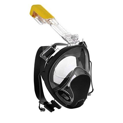 Webeauty Máscara de Buceo con máscara de Snorkel de Cara Completa 180 ° -con diseño Anti-vaho antirruido de Buceo para Buceo de Seguridad para Adultos y niños (Negro)