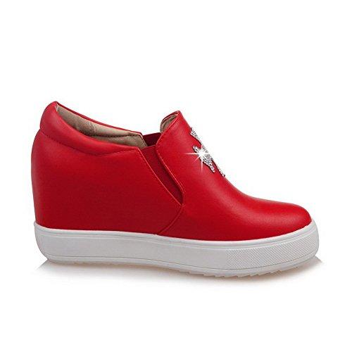 AllhqFashion Femme Rond à Talon Haut Matière Souple Mosaïque Tire Chaussures Légeres Rouge