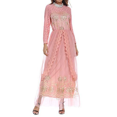 Indien Kostüm Traditionelle - Scrolor Moslemische Kleidung Indien Kleidungsstück langärmeliges Kleid für Frauen Mädchen Party tragen Multi Color Lace Design(Rosa,L)