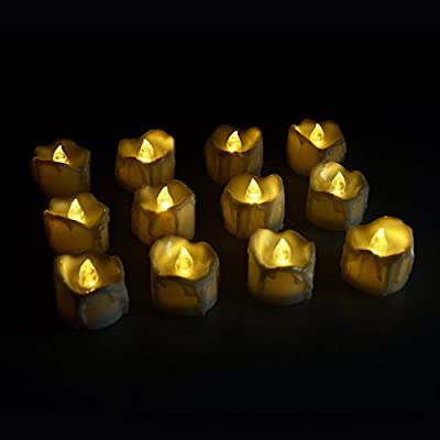 Flameless Candles, 12pcs LED Tea Light Candles Battery Tealights from Moobom