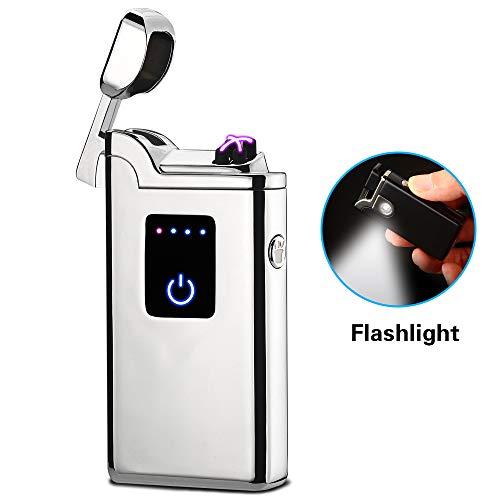 SunTime Mechero de Arco Dual con Linterna, Doble Plasma, Recargable por USB, sin Llama, Impermeable, Resistente al Viento, Mini Encendedor eléctrico para Pipa de Cigarrillos, Plateado