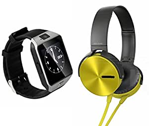 Smart Watch & Extra Extra Bass XB450 Headphones for XOLO Q600(Extra Extra Bass XB 450 Headphones & Bluetooth DZ09 Smart Watch Wrist Watch Phone with Camera & SIM Card Support Hot Fashion New Arrival Best Selling Premium Quality Lowest Price with Apps like Facebook, Whatsapp, Twitter, Sports, Health, Pedometer, Sedentary Remind & Sleep Monitoring, Better Display, Loud Speaker, Microphone, Touch Screen, Multi-Language, Compatible with Android iOS Mobile Tablet-Silver Color)