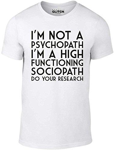 Reality Glitch Herren I'm Not a Psychopath T-Shirt (Weiß, XX-Large)