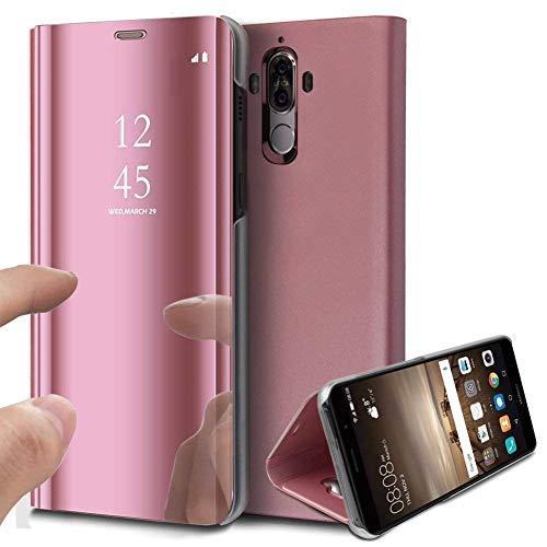 Kompatibel mit Huawei Mate 10 Pro Spiegel Hülle Lederhülle Mirror Clear View Standing Hülle Leder + Spiegel Schutzhülle PU Leder Brieftasche Flip Case Cover Wallet Tasche Etui Hülle Huawei Mate 10 Pro