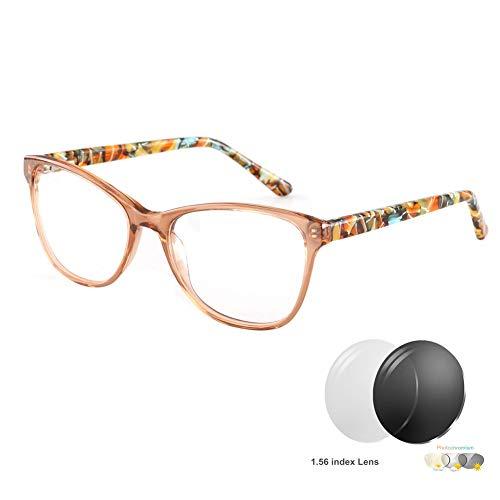 Lesebrille Frauen Katzenauge | Anti Glare Sonne Leser - Stilvoller Azetat klarer Rahmen Design mit Übergang photochrome Linse - von Eye-spec (+1 bis +4 Dioptrien),Brown,+4.0