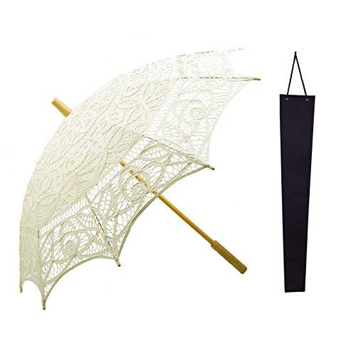 Vintage Sonnenschirm KAKOO Braut Regenschirm Bestickte Spitzenschirm 76cm Groß für Hochzeit Foto Requisiten Garten Party Deko mit Schutzhülle (Elfenbein) (Gestickte Hinweis Weiß)