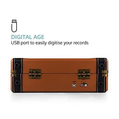 auna Jerry Lee Plattenspieler USB-Anschluss zum Digitalisieren braun - 4