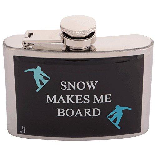 Flachmann aus Edelstahl mit Snowboarden