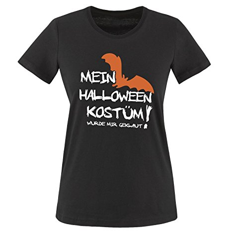 Comedy Shirts - MEIN HALLOWEEN KOSTÜM WURDE MIR GEKLAUT VAMPIR - Damen T-Shirt Schwarz / Weiss-Orange Gr. XXL