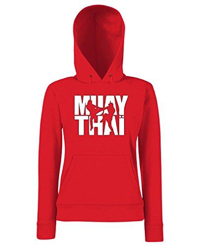 T-Shirtshock - Sweats a capuche Femme TBOXE0111 Muay thai logo Rouge
