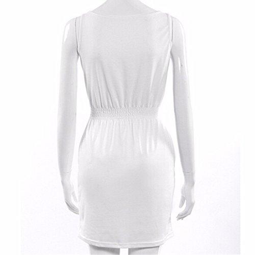 QIYUN.Z Plage Europe Couleur Fluorescente Elastique Femmes De La Mode Taille Mini Robe Sundress Blanc