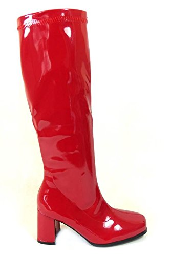 Damen-GoGo-Stiefel für Kostümfeiern, 60er/70er-Retro-Look, Mehrfarbig - rot - Größe: 38