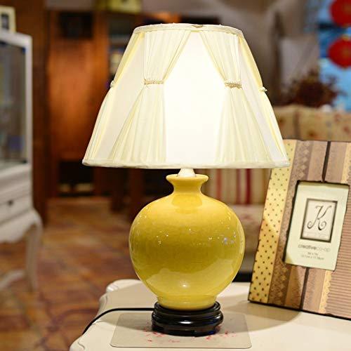 FMEZY Tischlampe LED Modern Schlafzimmer Nachttischlampe Keramik Monochrom Personalisiert Wohnzimmer Dekorative Schreibtischlampe (Farbe: Gelb, Größe: Knöpfe) (Gelb Moderne Keramik-tischlampe)
