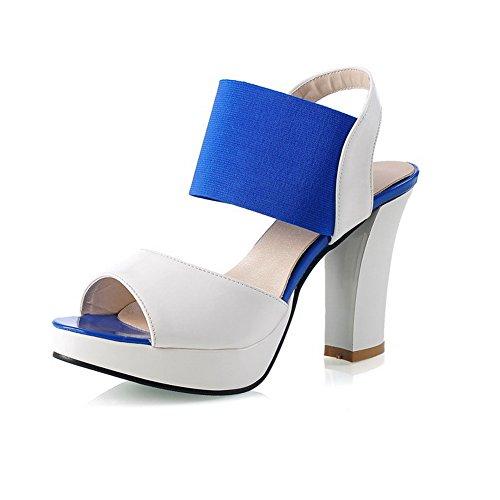 VogueZone009 Damen Gemischte Farbe Elastic Band Sandalen Mit Hohem Absatz Blau