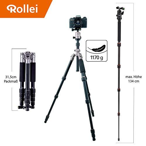 Rollei Compact Traveler No. 1 - Trípode Ligero de Aluminio de Viaje y Exterior, Cabezal Esférico, ARCA SWISS compatible, Función Macro Fotografia, Capacidad de carga máx. 5kg, Color Titanio