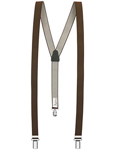Hochwertige Hosenträger von Xeira® für Damen und Herren in vielen Trendigen Design - 3 Stabile Clips und 25mm Breit - Made in Germany (Standard - 110cm, Braun)