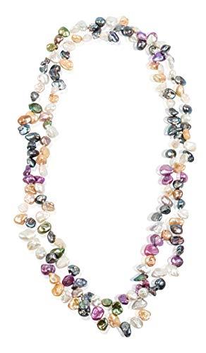 df3b02205360 Minely Jewels Precioso Collar de 120 cm Hecho a Mano con 160 Perlas Keshi  Auténticas Perlas