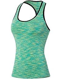 ZKOO Femme Débardeur de Compression Sans Manches T-shirt de Sport Dos Nageur Pour Running Fitness