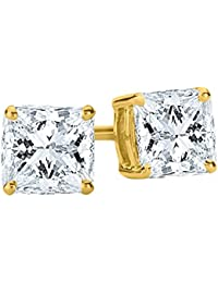 f84a0f6f620f 1 2-2 quilates de peso total princesa diamante Stud Pendientes 4 Prong  Tornillo