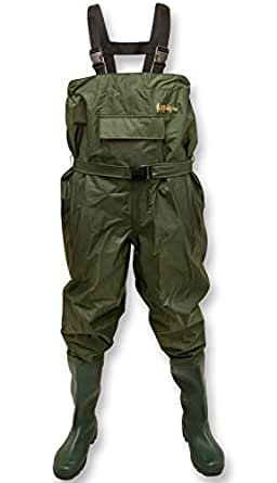 Michigan 100% Waterproof Olive Nylon Fishing Chest Waders with Belt Size 8