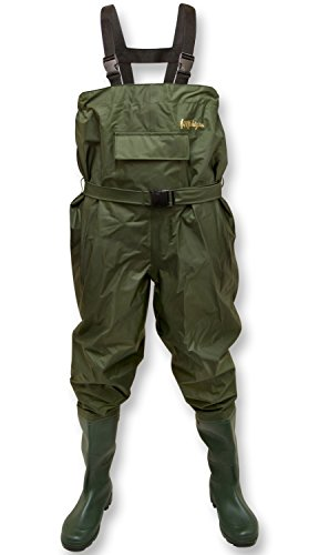 Michigan 100% Waterproof Olive Nylon Fishing Chest Waders with Belt Size 9