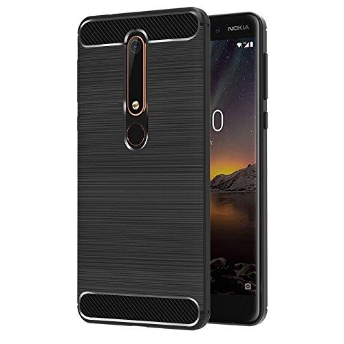 iVoler Cover Compatibile con Nokia 6.1 / Nokia 6 2018, [Fibra di Carbonio] Protezione Posteriore Soft TPU Custodia Case - Nero