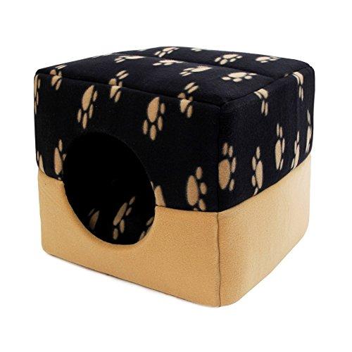 zhou-Haustier, Super Warm Katze Haustier Bett Hund Cube Bett Haustier Nest Für Kleintiere Katzen Kaninchen Kleine Hunde mit Thicken Kissen (Color : Beige paw, Size : S)