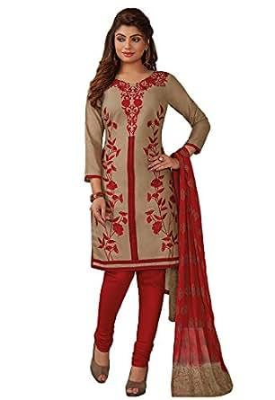 Ishin Women's Cotton Dress Material(Ddrrjpah-12-9417_Brown & Red_Free Size)