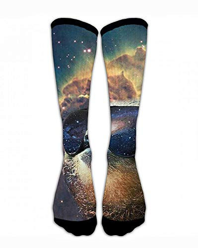 Jxrodekz Men & Women Classics Crew Socks Cool Sloth with Sunglasses Galaxy Funny Crazy Unique Thick Warm Cotton Crew Winter Socks Personalized Gift Socks