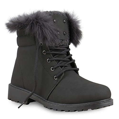 Warm Gefütterte Damen Stiefeletten Outdoor Boots Fell Nieten Schuhe 129633 Grau 41 Flandell