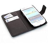 ECENCE Samsung Galaxy S3 mini i8190 i8200 Cartera Funda Cover Flip Wallet Case bolsa Negro + Película protectora de pantalla 14020301