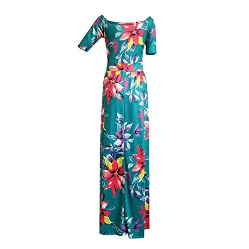hansee Frauen, zwei Seite, Schlitz Floral Hälfte ärmel, Schulter Maxi Kleid lang Gewand Grün