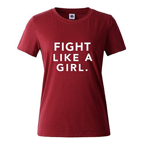 Foto de BLACKMYTH Mujer Casual Camisetas Para Estampar Redondo Graphic Tees Manga Corta Señoras T-shirt Vino Rojo Small