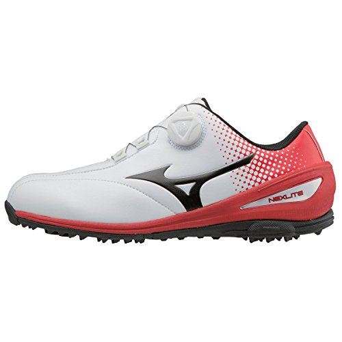 Mizuno 2018 NEXLITE 004 BOA Spikeless Imperméable Chaussures de golf pour hommes - White/Red 9.5UK