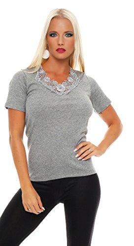 Damen-Hemd mit Spitze und V-Ausschnitt (Shirt, Top, Damenhemd) Nr. 404  Grau