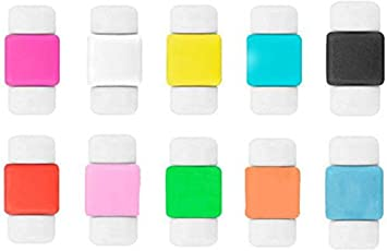 Aryshaa Protector Saver Cover for USB Charger Cable Cord Cable Drop Clip Multicolor (Pack of 10)