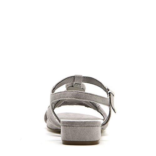 ALESYA by Scarpe&Scarpe - Sandales basses avec pierres, à Talons 2 cm Gris tourterelle