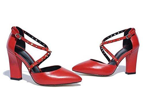 PBXP OL Hochzeit X-Straps Niet Dekoration Hohle Obere Mandel geformte Zehe Chunky High Heel Frauen Büros Freizeitschuhe EU Größe 34-39 Black
