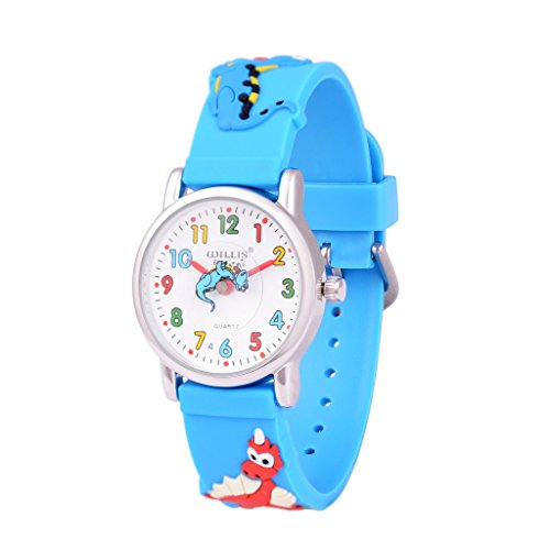 Wolfteeth Junge kleine Jungen Kinder Kinder kühlen Armbanduhr Zeit Lehrer, Cartoon Charakter 3D Dinosaurier blau Uhrenarmband 303607