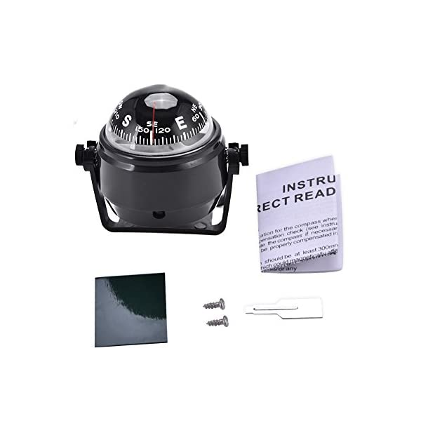 Dilwe Boat Compass, Black Electronic Adjustable Compass for Boat Night Vision 6