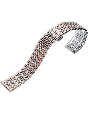 20mm Herren Damen Silber-Rosegold Edelstahl Uhren-Armband Uhrenarmbänder Uhrband Watch Band Watch Strap Uhr Unisex...