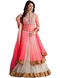 19 Likes Women's Net Dress Material (MUMRYGOS070PI_Pink_Free Size)