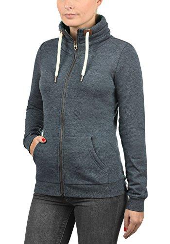DESIRES Vicky Zipper Damen Sweatjacke Zip-Jacke mit Fleece-Innenseite und Stehkragen aus hochwertiger Baumwollmischung Meliert Insignia Blue Melange (8991)