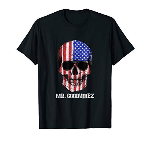 Totenkopf T-Shirt USA Flagge Skull by Mr. Goodvibez (Shirt Flag American Damen)