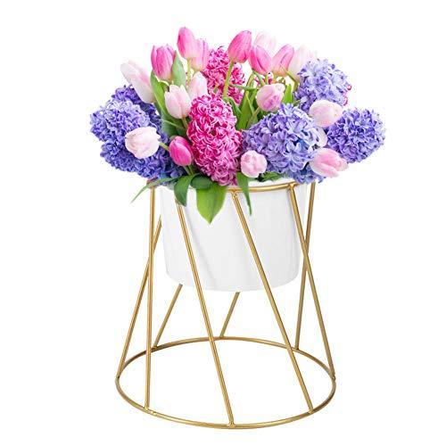 Zerodis Macetas de cerámica con soporte de metal decorativo para jardín, balcón, interior, plantas suculentas de hierbas de cactus