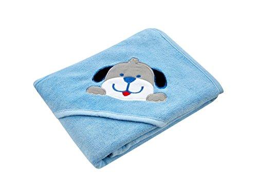 Blueqier Heimtuch Kinder Cartoon 3D Hund Applique Handtuch mit Kapuze Baby niedliche Tier Handtuch Decke (hellblau) Badezimmerzubehör -